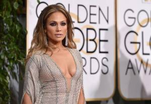 Jennifer Lopez arrives at the 72nd annual Golden Globe Awards at the Beverly Hilton Hotel on Sunday, Jan. 11, 2015, in Beverly Hills, Calif. (Photo by John Shearer/Invision/AP)