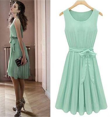 Vestido-plissado-Chiffon-sem-mangas-mint-Womens-verde-eua-tamanho-6-8-10